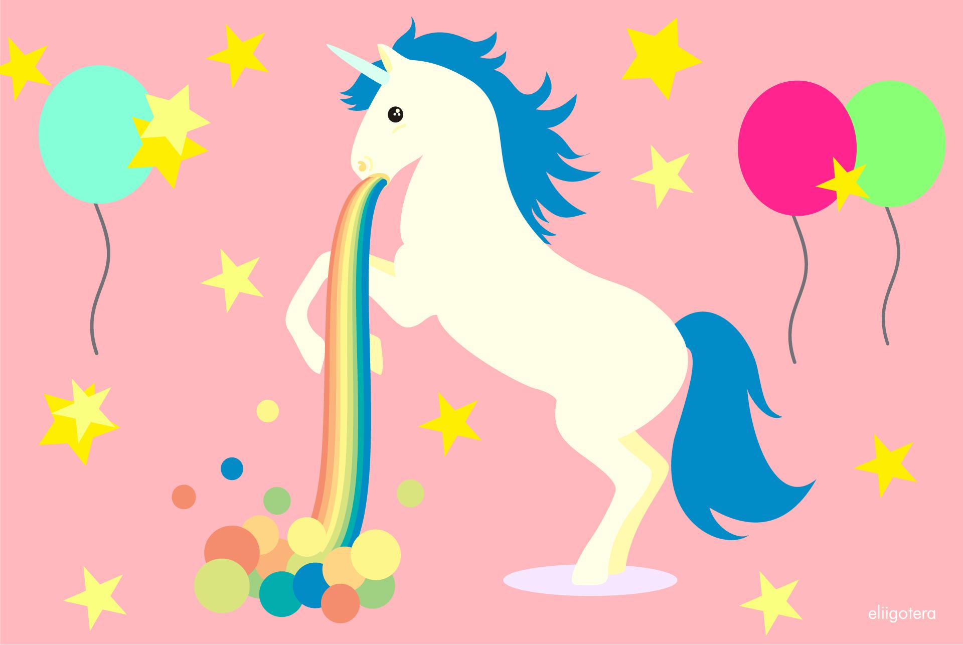 unicornio vomitando arcoiris