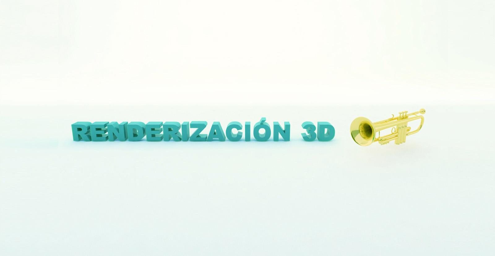 renderizacion 3d y trompeta en 3d